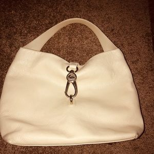 Dooney and Bourke Beige  Logo Lock Shoulder Bag